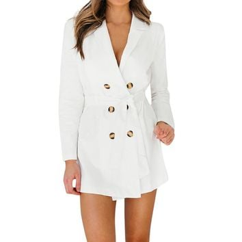 Women Ladies Long Sleeve Button Solid Stylish Duster Blazer Jacket Coat