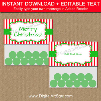 EDITABLE CHRISTMAS Treat Bag Toppers, Christmas Candy Bag Toppers, Holiday Bag Toppers, Holiday Bag Tags, Bag Labels, Party Supplies CSV