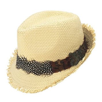 Frayed Straw Weave Fedora Trilby Hat w/ Feather Band, Natural (X/XL)