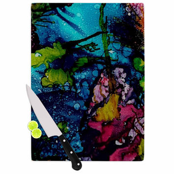 """Abstract Anarchy Design """"Sharks Cove"""" Teal Balck Cutting Board"""