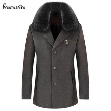 Free shipping 2018 new Men Longer Section Woolen Coats Jackets with Fur collar Mens Warm Wool Overcoat Size M-3XL 248yw