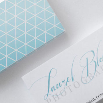 Aqua Blue Silver Gray Triangles Double Sided Business Calling Card DIY PDF JPEG Handwritten Calligraphy Font
