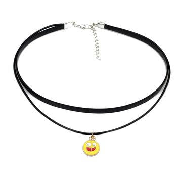 Smiley Face Happiness Emoji Charm Pendant Necklaces for Women