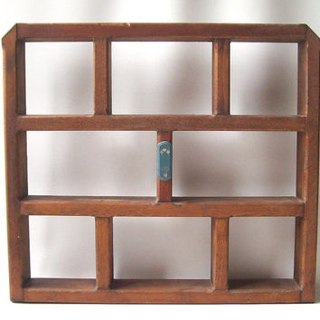 vintage 1990's wood shelf wall hanging miniatures collectibles shadow box country rustic decorative home decor retro