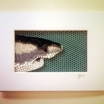 Seed Bead Embroidered Shark