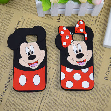 3D Cartoon Mickey And Minnie Mouse Soft Silicone Case For Samsung Galaxy S3 S4 S5 Neo G900F S6 G920 S6 edge G925 S7 S7 edge