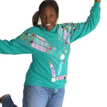 90s Vintage Sweatshirt Sequins Mirrors Puff Glitter Paint 90's Party