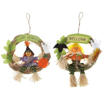 Non-Woven Witch Pumpkin Halloween Hanging Ornament Home Shops Festival Party Props Decor