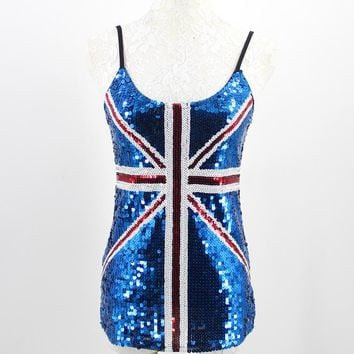 Women Stage Performance Costumes Sequin Tank Top Sexy Slim Mesh Club Adjustable Strap Top