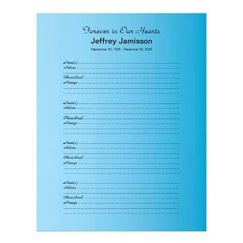 Memorial Book Filler Sign-In Page Blue Gradient