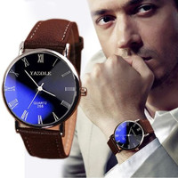 Men's Date Leather Stainless Steel Military Sport Quartz Wrist Watch