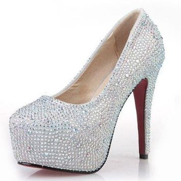 VELCANS Fashion Rhinestone Womens Platform Pump High Heels,Bridal Shoes,Party Shoes and Wedding Shoes For Women