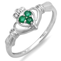 10K White Gold Round Diamond and Emerald Bridal Promise Irish Love Claddagh Heart Shape Ring (Size 7)