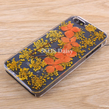 Pressed Flower Daisy iPhone 5 case, iPhone 4 case, iPhone 4s case, iPhone 5s case, iPhone 5c case, Galaxy S4 S5 Note 3 - 01030-4