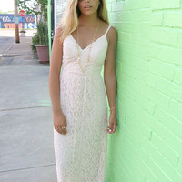 Summerland Lace Open Back Bone Maxi Dress