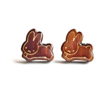 Handmade Glow in the Dark Wooden Rabbit Earrings. Adorable Bunny Glowing Earrings. Girls Stud Earrings.