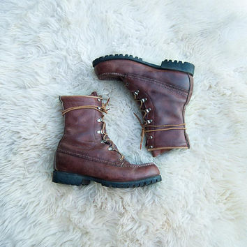 Vintage Red Wing Boots Men's 8.5 Women's 10 Irish Setter Boots Moc Toe Vibram Sole Rust Brown Leather Ankle Boots Vintage Hunting Work Boots