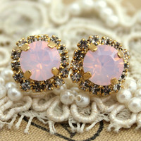 Crystal stud Rose Opal earring - 14k plated gold post earrings real swarovski rhinestones .