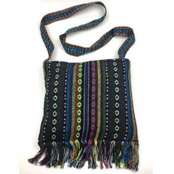 Women New Fashion Tribal Ethnic Style Embroidery Shoulder Bag Casual Tassel Tote Messenger Bag