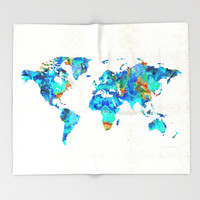 World Map 22 Art by Sharon Cummings Throw Blanket by Sharon Cummings | Society6