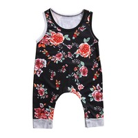 Pudcoco Girls Infant Romper Jumpsuit Floral Print Rompers Summer Newborn Tank Romper Baby Clothes Cotton