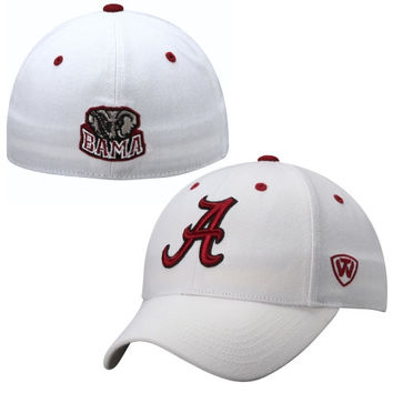 Alabama Crimson Tide Top of the World Dynasty Memory Fit Fitted Hat – White