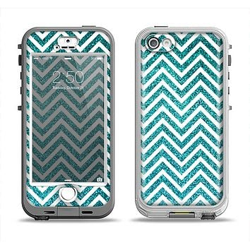 The Teal & White  Sharp Glitter Print Chevron Apple iPhone 5-5s LifeProof Nuud Case Skin Set