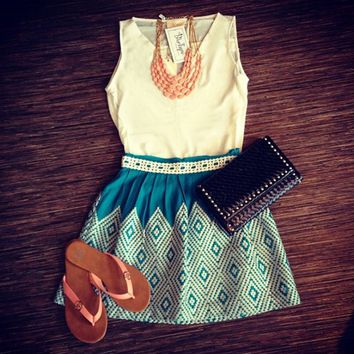 Geometric Printed Sleeveless Mini Dress