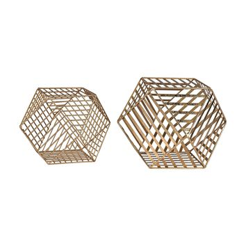 3138-257/S2 Gold Metallic Wire Dodecahedron