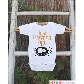 Kids Halloween Shirt - Spider Shirt - Just Hanging Out Halloween Onepiece or Tshirt - Boy or Girl Halloween Outfit - Novelty Halloween Shirt