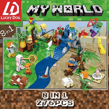 276Pcs Minecraft Building Blocks Compatible LegoINGly city Figures River Bricks Set Educational Toys for Children Gift 8 in 1