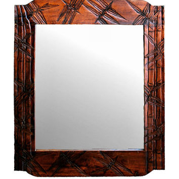 Art Deco Carved Wood Mirror