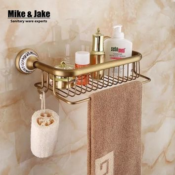 Bathroom antique brass shelf bathroom corner shelf cosmetic holder bathroom shelf with hooks basket for bathroom shelf 30cm 3001