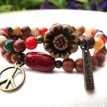 Nature Bracelet, Peace Bracelet,  Nature Bracelet, Hippie Bracelet, Multi Gemstone Bracelet, Flower Child, Fall Colors, Set of  Bracelets