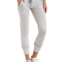 Zipper Pocket French Terry Pants by Charlotte Russe