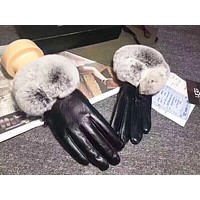 UGG Winter High Quality New Fashion Leather Keep Warm Women Gloves Black
