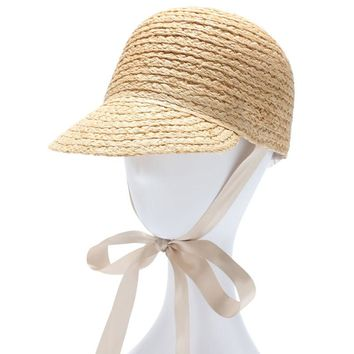 Women Summer Sun Hat With Long Ribbon Solid Color Raffia Straw Hat Equestrian Cap Feamle UV Protection Gorras Chapeu Feminino