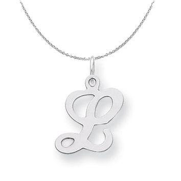 Sterling Silver, Sophia Collection, Small Script Initial L Necklace