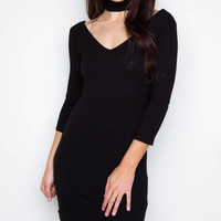 Girl Talk Choker Dress - Black