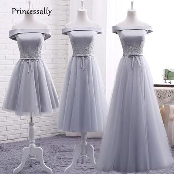Robe De Soriee 2017 New Grey Bridesmaid Dresses Satin Sexy Boat Neck Appliques The Bride Elegant Banquet Prom Party Formal Gown