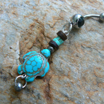 sea turtle belly ring, turtle ,turquoise magnesite sea turtle