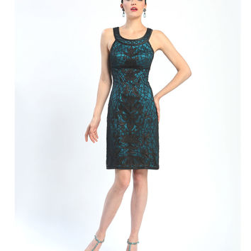 Sue Wong Fall 2014 Black & Teal Beaded & Embroidered Scoop Neck Short Sheath Dress