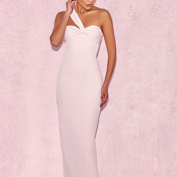 Clothing : Max Dresses : 'Sayan' Baby Pink Crepe Knotted Maxi Dress