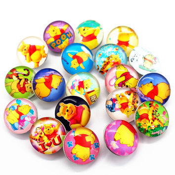 2017 New Arrived Mixs 20pcs Winnie The Pooh  Snaps Buttons 18mm Cartoon Snaps Charms Fit Ginger Snaps Bracelets&Bangles Jewelry