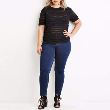 Sheer Peek-a-Boo Stripes Short Sleeve Club Slim FitTop- Plus Size