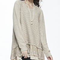Simply Couture Beige Lace Layered Sweater | zulily