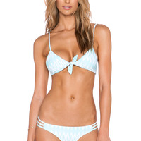 Aila Blue Cathedral Triangle Bikini Top in Ikat