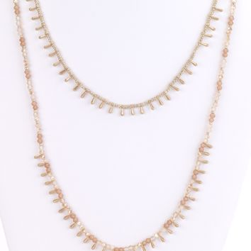 Teardrop Beads Long Necklace