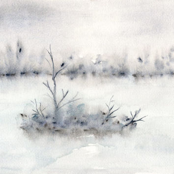 Watercolor painting, landscape painting, landscape art, original landscape, winter scene, abstract watercolor, misty painting, 10X8 original