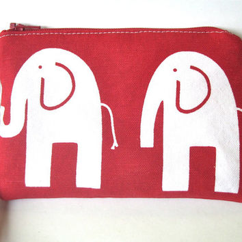 cell phone wristlet, clutch purse with removable strap, wrist wallet with pocket, petite wrist clutch with strap, elephant motif fabric